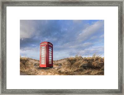 English Phone Box On The Beach Framed Print by Joana Kruse
