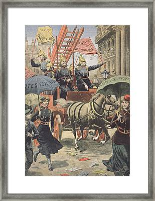 English Suffragettes Dressed As Firemen Framed Print