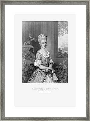 Engraved Portrait Of Lady Catherine Duer, Circa 1780 Framed Print by Craig McCausland