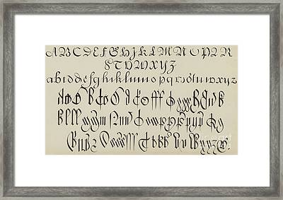 Engrossing And Court Hand  Framed Print by English School