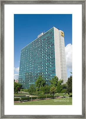 Eni Building And Park Framed Print by Fabrizio Ruggeri