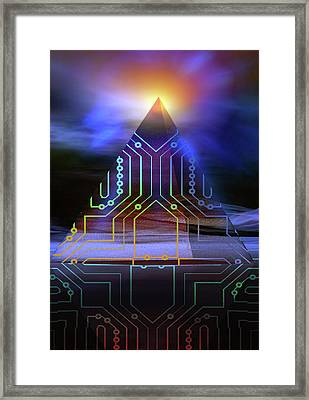 Framed Print featuring the digital art Enigma Of Ancient Technology by Shadowlea Is