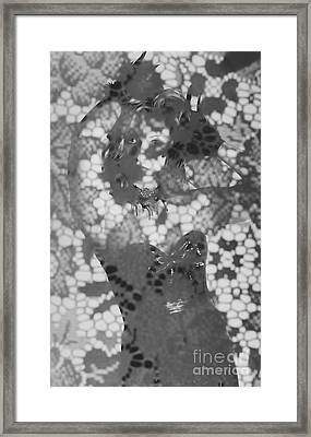 Enigmatic Beautiful Woman Motioning Behind Lace Fabric Framed Print by Jorgo Photography - Wall Art Gallery