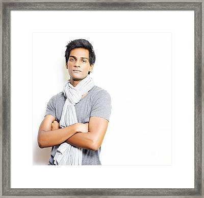 Enigmatic Fashionable Young Man Framed Print