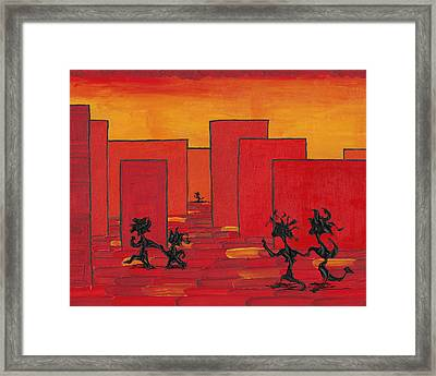 Enjoy Dancing In Red Town P1 Framed Print