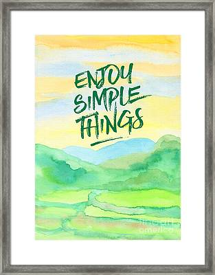 Enjoy Simple Things Rice Paddies Watercolor Painting Framed Print
