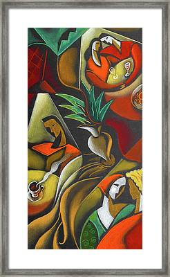 Enjoying Food And Drink Framed Print by Leon Zernitsky