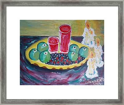 Enjoying Fruit By Candle Light Framed Print by Diana Riedling