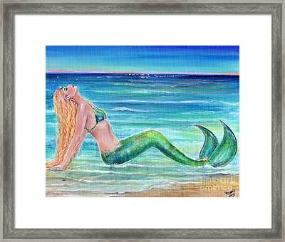 Enjoying The Beach Framed Print