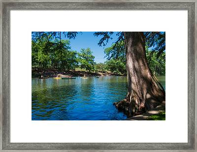 Enjoying The Guadalupe River - Camp Waldemar Texas Framed Print