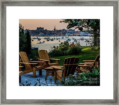 Enjoying The Portland View Framed Print by Joe Faragalli