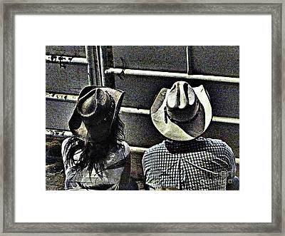 Enjoying The Rodeo Grungy Framed Print