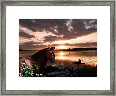 Enjoying The Sunset Framed Print