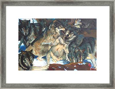 Framed Print featuring the painting Enjoying Their Prey by Koro Arandia