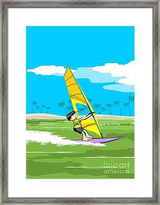 Enjoying Windsurfing On An Island Vacation Framed Print