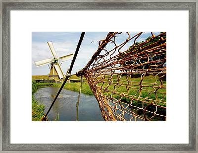 Framed Print featuring the photograph Enkhuizen Windmill And Nets by KG Thienemann