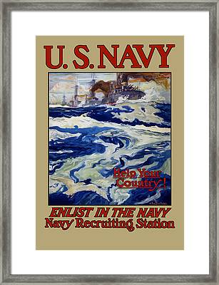 Enlist In The Navy - Help Your Country Framed Print by War Is Hell Store