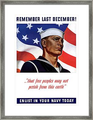 Enlist In Your Navy Today - Ww2 Framed Print by War Is Hell Store