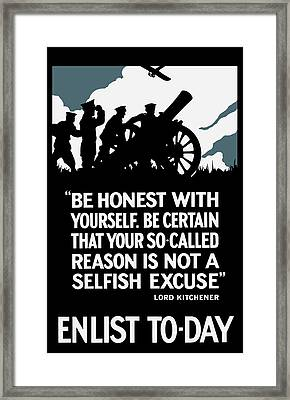 Enlist To-day - Lord Kitchener  Framed Print