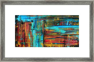 Enormous 3x5 Abstract Art Huge Original Contemporary Painting Into Autumn By Madart Framed Print by Megan Duncanson