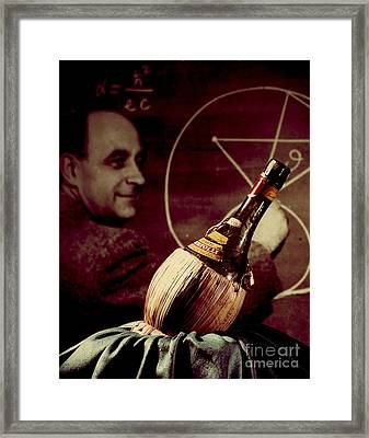 Enrico Fermi And Cp-1 Chianti Bottle Framed Print by Science Source