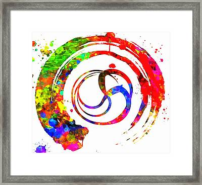 Enso Colorful Paint Circle Framed Print by Dan Sproul