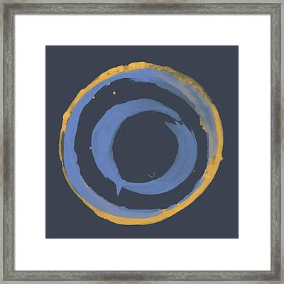 Framed Print featuring the painting Enso T Blue Orange by Julie Niemela