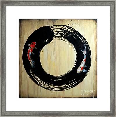 Enso With Koi Framed Print by Sandi Baker