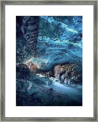 Entering The Ice Cave Framed Print by Peter Svoboda