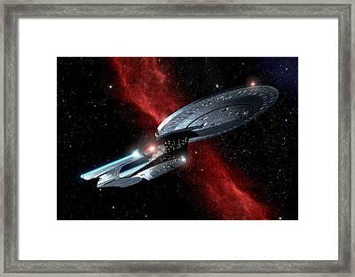 Enterprise Crossing The Nebula Framed Print by Joseph Soiza