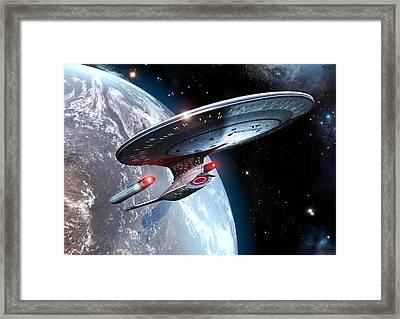 Enterprise D In Orbit Framed Print by Joseph Soiza