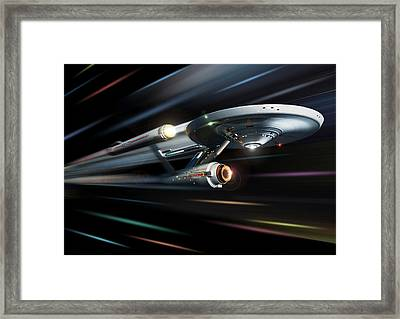 Enterprise The Original Series At Warp Framed Print by Joseph Soiza
