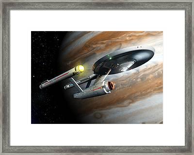 Enterprise Tos Orbiting Jupiter Framed Print by Joseph Soiza