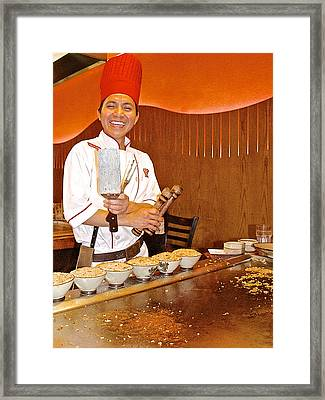 Entertaining Chef At Benihana In Monterey-california Framed Print