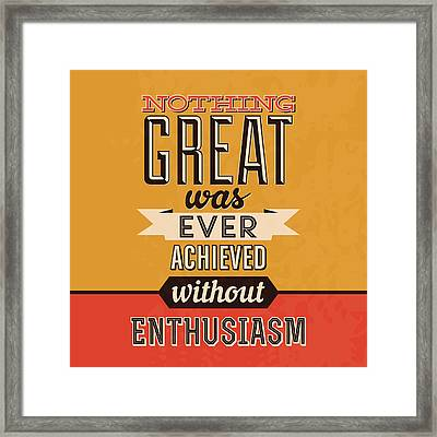 Enthusiasm Framed Print by Naxart Studio
