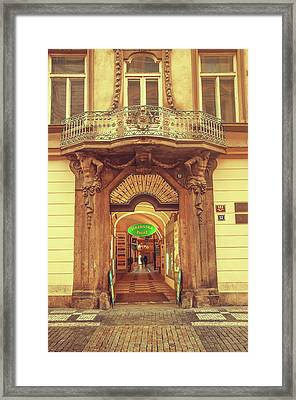 Framed Print featuring the photograph Entrance To Passage. Series Golden Prague by Jenny Rainbow