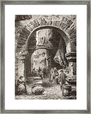 Entrance To The Ghetto In Rome In The Framed Print