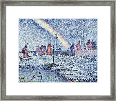 Entrance To The Port Of Honfleur Framed Print by Paul Signac