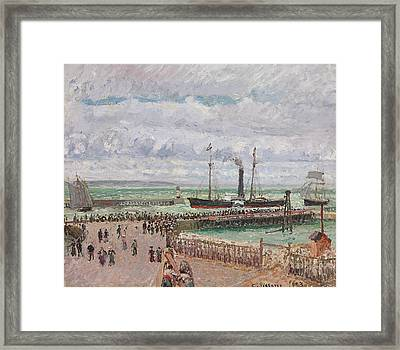 Entrance To The Port Of Le Havre And The West Breakwaters Framed Print by Camille Pissarro