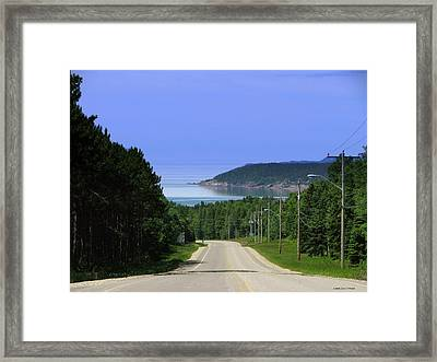 Entrance To The Town Of Marathon Ontario Framed Print by Laura Wergin Comeau