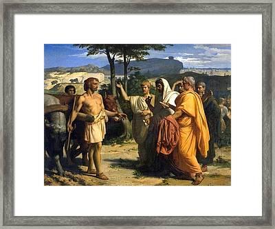 Envoys Of The Senate Offer The Dictatorship To Cincinnatus  Framed Print