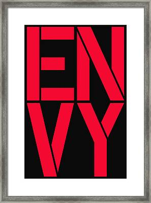 Envy Framed Print by Three Dots