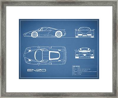 Enzo Ferrari Blueprint Framed Print by Mark Rogan