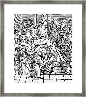 Leo X Supervising Burning Of Martin Luther's Books Framed Print by Unknown