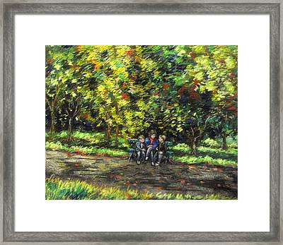 Eoin Miraim And Cian In Botanic Gardens Framed Print