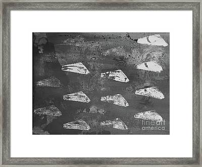 Framed Print featuring the painting Eoliths Grayscale by Robin Maria Pedrero