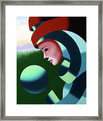 Framed Print featuring the painting Eos - Abstract Mask Oil Painting With Sphere By Northern California Artist Mark Webster  by Mark Webster
