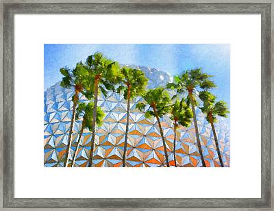 Epcot Palms Framed Print by Paul Bartoszek