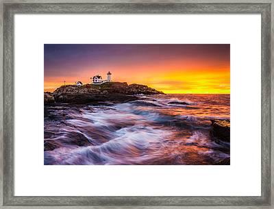 Epic Sunrise At Nubble Lighthouse Framed Print by Benjamin Williamson