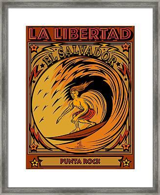 Epic Surf Designs Surf El Salvador Framed Print by Larry Butterworth